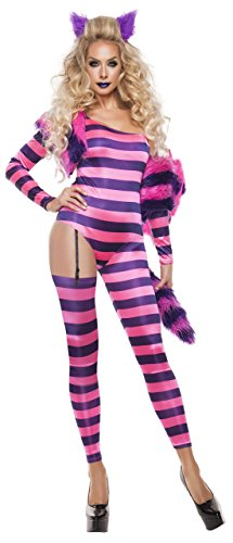 (Starline Women's Trippy Kitty Jumpsuit Sexy 5 Piece Costume Set, Pink/Purple, Large)