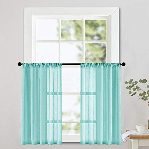 MRTREES Aqua Blue Sheer Tier Curtains Kitchen 36 inch Length Light Filtering Voile Half Window Curtains Short Solid Sheer Curtains with Rod Pocket 2 Panels