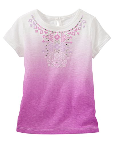 Oshkosh Girl's Short Sleeve Embellished Ombré Tee (9M, Purple)