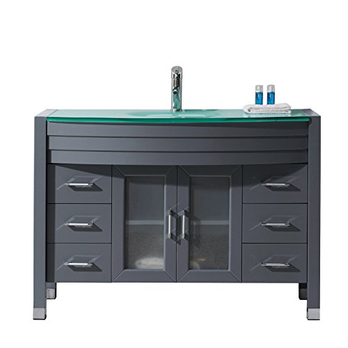 "MS-509-G-GR Ava 48"" single Bathroom Vanity with Aqua Tempered Glass Top and Round Sink with Polished Chrome Faucet and Mirror, Grey"