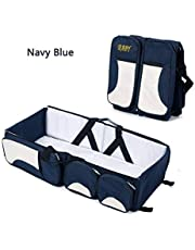 XJLLOVE Baby Travel Folding Crib Portable Multifunctional Large Capacity Mummy Bag Crib Bag, 3 in 1 Travel Diaper Bag Portable Bassinet/Changing Pad Station,3