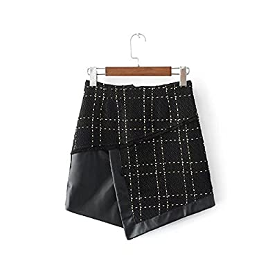 All-Match Slim Patchwork of Leather Fight Tweed Skirt Chic Plaid Mini Skirt
