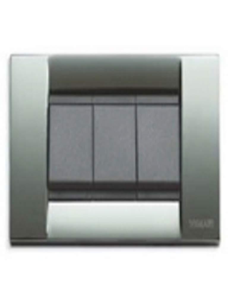 Vimar serie idea Placa classica 3 m/ódulos metal cromo