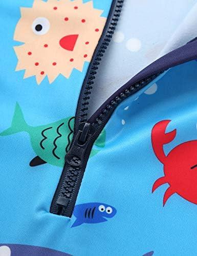 紫外線カット ラッシュガード ベビー 子供 男の子長袖 ワンピース 水着 連体水着 学校用水着 UPF50+ ブルー 80