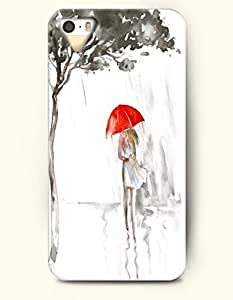 iPhone 5 5S Hard Case (iPhone 5C Excluded) **NEW** Case with Design Girl With Red Umbrella Walking In The Rain...