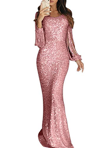 Elapsy Womens Sequin Tassel Long Sleeve Luxurious Homecoming Party Mermaid Maxi Evening Bandage Dress Formal Gown Pink X-Large