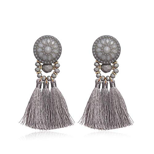 CAIYCAI Weave Resin Tassel Earrings for Female Acrylic Dangle Earrings Boucles Femmes for Women,Gray (Stores Hardware Hilton Head)