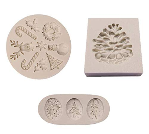 Astra Gourmet Christmas Fondant Silicone Sugar Reindeer Candy Cane Snowman Tree Mold Pine Cone Mold for Cupcake, Cake Decoration, Polymer Clay Crafting Projects, Set of 3
