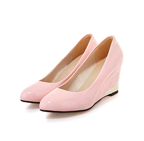 Solid Shoes Shoes Of Shallow Work Version Mouth MHX Patent Women's Women's Round The Small Shoes Pink Leather Color Korean Z8wIwvT