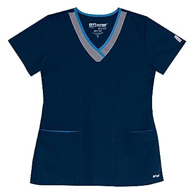 Grey's Anatomy Women's 2 Pocket Color-Block V-Neck Medical Scrubs Shirt