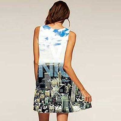 Sinfu Women Summer Sleeveless Tank Dress Loose Mini T-Shirt Dress Beach Sundress: Clothing
