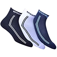SPRING WORLD Socks for mens cotton ankle length | All Weather (Pack of 3)