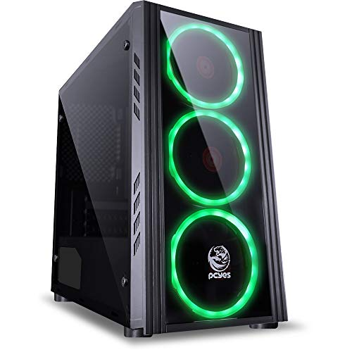 Pcyes Saturn Astros Desktop Mid Tower Computer Case with Acrylic Window Side 3 Fans (Black/Green)