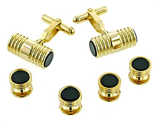 Cylinder Onyx and Gold Plated Tuxedo Studs and Cufflinks Set