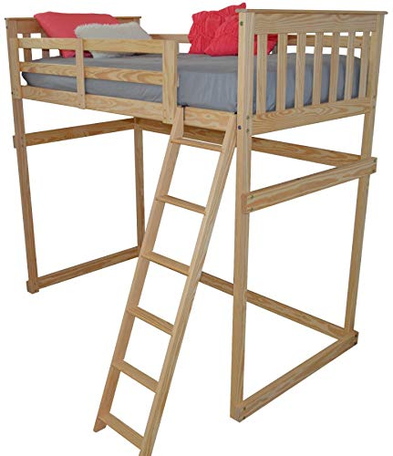 (A&L Furniture VersaLoft Amish Twin Pine Mission Loft Bed with Side Ladder, Unfinished)