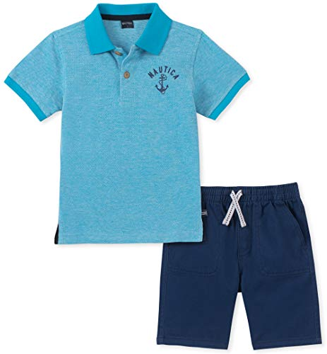 Nautica Boys' Toddler 2 Pieces Polo Shorts Set, Blue/Navy, 3T (Nautica Newborn Boy Clothes)