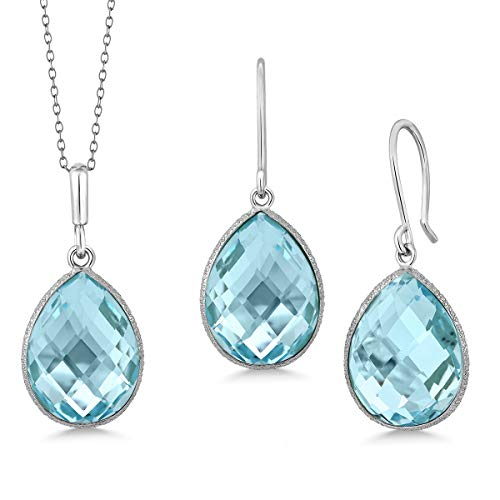 Gem Stone King Sterling Silver Blue Topaz Pendant and Earrings Set 22.50 cttw Pear Shape 16X12MM Gemstone Birthstone with 18inches silver ()