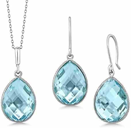 303ca0a6c29b1e Gem Stone King Sterling Silver Blue Topaz Pendant and Earrings Set 22.50  cttw Pear Shape 16X12MM