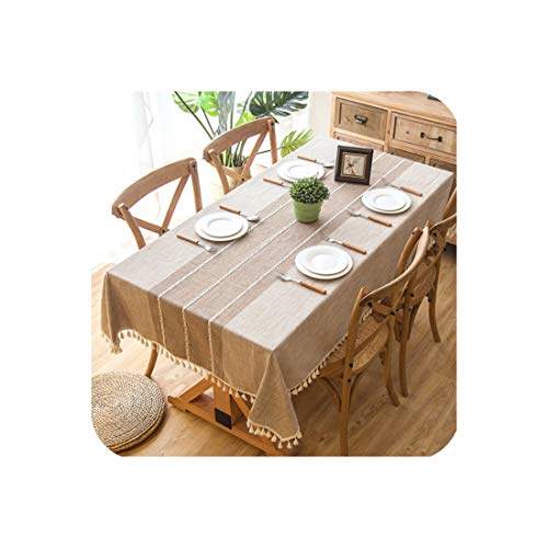 Plaid Decorative Linen Tablecloth with Tassel Waterproof Oilproof Thick Rectangular Wedding Dining Table Cover Tea Table Cloth,Khaki,120x160cm]()