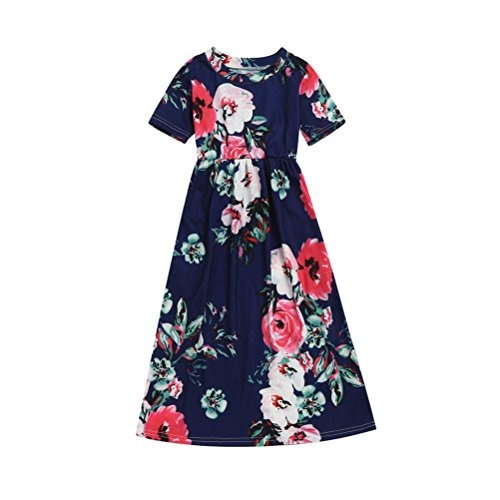 (Fashion Toddler Kid Baby Girl Flower Print Princess Party Long Dress Outfits Clothes 2-10 Years (Navy, 4T))