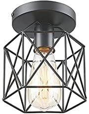 WANWAJA Industrial Semi Flush Mount Ceiling Light Fixtures, E26 Retro Vintage Farmhouse Ceiling Cage Lights, Black Metal Rustic Ceiling Lamp for Hallway Stairway Entryway Kitchen Bedroom Balcony
