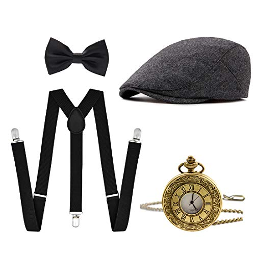 Ziyoot Men's 1920s Accessories Gatsby Gangster Costume Set Gangster Beret Y-Back Suspender