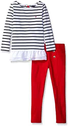 Nautica Girls' Striped Knit Top with Bow and Fashion Leggings Set