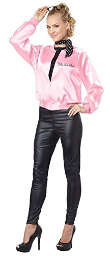 [POPLife Grease Style The Pink Satin Ladies Halloween Costume] (Pink Lady Grease Costumes)