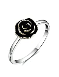 Anazoz S925 Silver Rose Flower Engagement Band Rings for Women