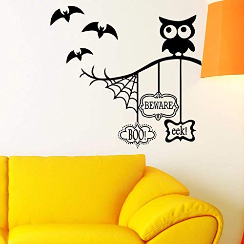 Wall Stickers Owl Halloween Theme Wall Stickers Spider Web Bat for Home Decoration Living Room Background Mural Art Decals PVC -