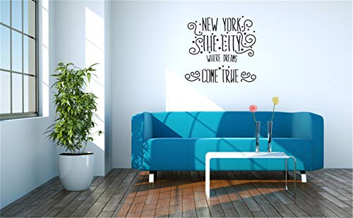 opplaegh Vinyl Wall Statement Family DIY Decor Art Stickers Home Decor Wall Art Wall Decal Quote New York The City Where Dreams Come True for Living Room Bedroom