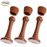 Sheoolor Door Stopper, Adhesive Door Stop Rust-Proof Door Holder with 3M Double-Sided Adhesive Pad, No Drill, Better Protection for Wall and Door, Great for Office, Home and School (3-Pack, Brown)