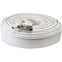 GW Security Premade 150ft RG59 Combo Cable for Connecting HD-SDI Camera System with BNC Connector and 2.1mm Power Connector (White) (150 feet)