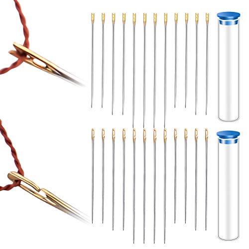 Easy Threading Needles, Set of 72pcs Self-Threading Needles Big Eye Blind Needles Stitching Pins with 2pcs Needle Storage Tube for Embroidery and Sewing - 2 Styles, 3 Sizes