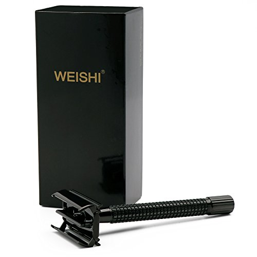 WEISHI Black Long Handle Butterfly Open Double Edge Safety Razor Twist to Open Men's Shaver