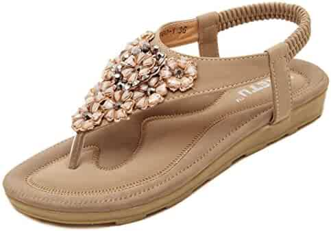 7e3a08bf4917 Meeshine Women s Summer Thong Flat Sandals T-Strap Bohemian Rhinestone Slip  On Flip Flops Shoes
