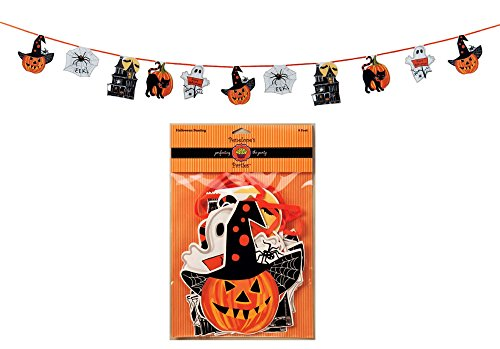 Penelope's Parties Paper Flag Banner, Haunted Halloween, 10-Feet Long -