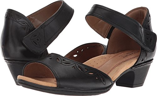 Rockport Cobb Hill Collection Women's Cobb Hill Abbott Two-Piece Ankle Strap Black Leather 6 D US (Leather Strap Collection)