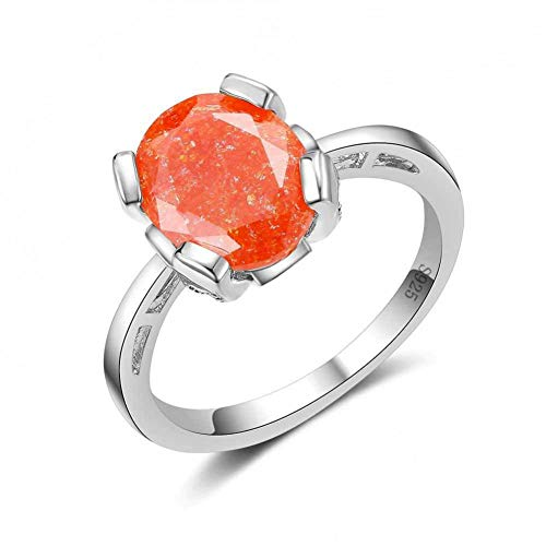 HCBYJ Lady ring Orange Round Crystal Party Ring for Women and Girls 925 Sterling Silver 925 Wedding Rings for Bride
