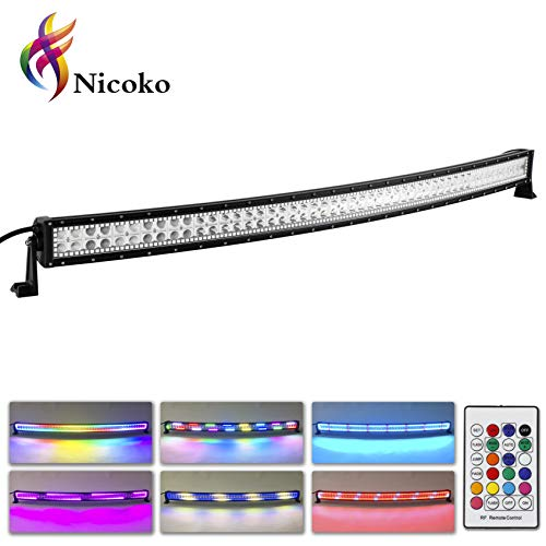 (Nicoko Curved Cree LED Light Bar 300w 52inch with RGB Multi color changing Halo over 72 Chase Modes LED Driving Fog Lights for Off Road Jeep Polaris Razor Trucks SUV IP67 Waterproof,1 Year Warranty)