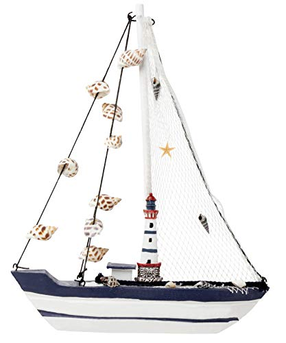 Juvale Sailboat Model Decoration - Wooden Ship Sailing Boat Home Decor, Beach Nautical Theme Lighthouse and Seashells, Blue White, 10.25 x 12.75 x 1.75 inches ()