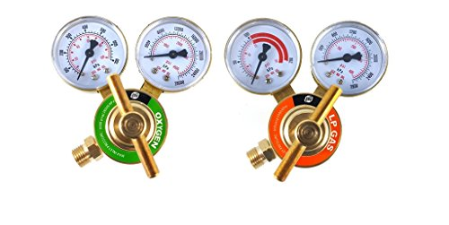 SÜA - Oxygen and Propane/Propylene Regulators Welding Gas Gauges -Pair - Rear Entry - LDB series (Series Propane Brass)