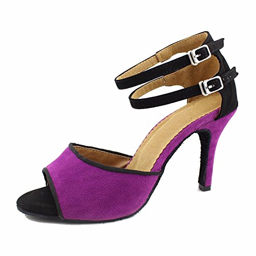 Salsa Latin Dance Ladies Ballroom Shoes YFF Purple Sandals 6TCUqxx