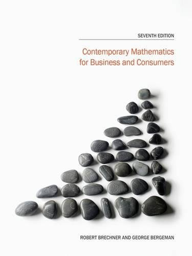 Contemporary Mathematics for Business and Consumers