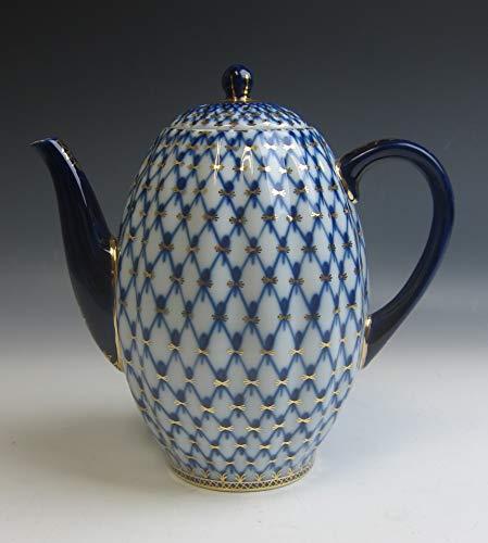 Lomonosov China COBALT NET 4 Cup Coffee Pot & Lid EXCELLENT