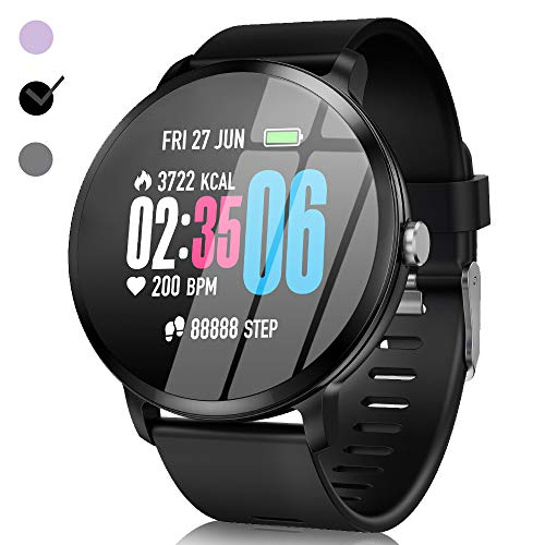 Smart Watch - Fitness GPS Tracker Plus 1.3'' IPS Round Touchscreen Waterproof with Heart Rate Monitor Blood Pressure Blood Oxygen Monitor Running Activity Sport Band  Birthday Gifts for Android/iOS