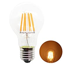 Rowrun E26 LED 8Watts Filament Candle Light Bulb, A60 Energy-Saving Bulb, 60Watts Incandescent Replacement Bulb,880LM, Warm White(2700K), Non-dimmable, Pack of 1