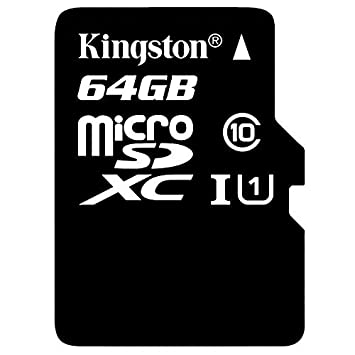 Kingston 64GB UHS-I Class 10 Micro SDXC Memory Card with Adapter (SDC10G2/64GB) Micro SD Cards at amazon