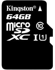 Kingston SDC10G2/64GB 64 GB UHS Class 1/Class10 microSDXC UHS-I Flash Memory Card (microSDXC to SD Adapter Included), Black