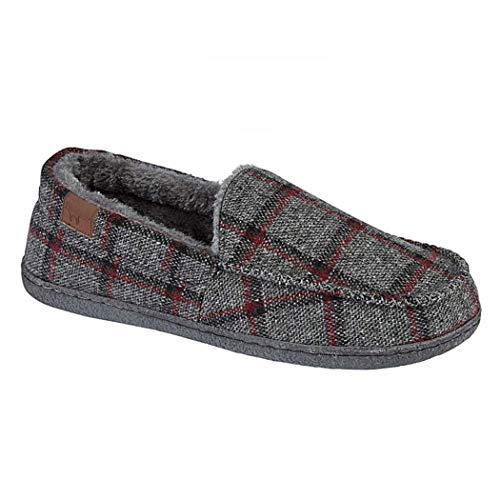 Uomo Fodera Finto Eleganti Da Tweed A Charcoal Pantofole amp; In Mocassino Joe Jo Pile Camoscio fqaPYn